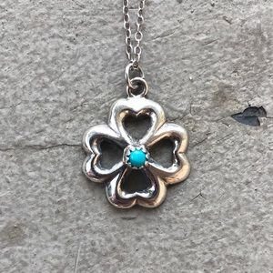 Jewelry - Vintage 925 Sand Cast Turquoise Clover Necklace